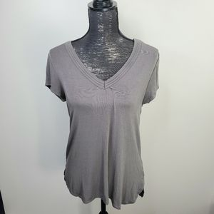 H by Bordeaux Taupe V Neck Tee